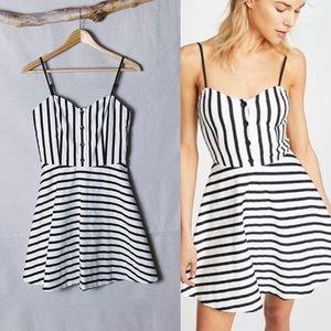 ALICE + OLIVIA Nella Striped Button Mini Dress